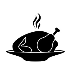 silhouette monochrome dish with hot chicken roast vector image