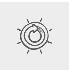 Sun with spiral arrow sketch icon vector