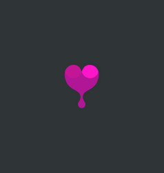 wine logotype abstract drop heart logo vector image