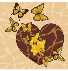 With a broken heart and butterflies vector