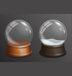 3d realistic snow glass ball highlight wooden vector image vector image