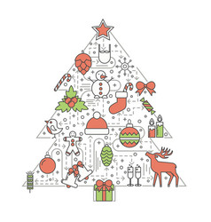 christmas tree flat thin line icon set vector image vector image