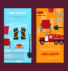 firefighter profession equipment and tools banner vector image