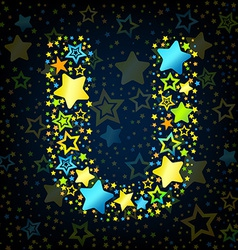 Letter U cartoon star colored vector image vector image