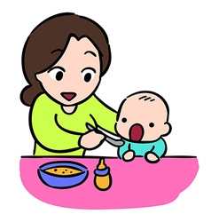 mother feeding her baby by spoon isolate Stock vector image