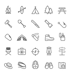 Set of Outline stroke Camping icons vector image