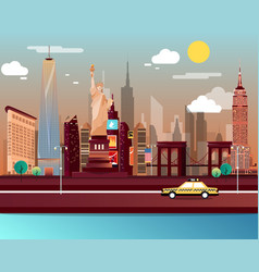 statue of liberty and landmarks in new york city vector image vector image