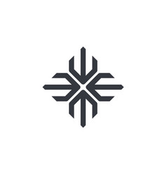 Abstract logo geometric shape futuristic cross vector