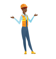 African-american confused builder with spread arms vector