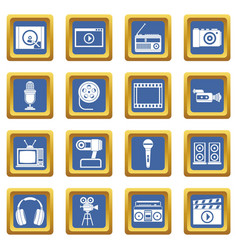 Audio and video icons set blue vector