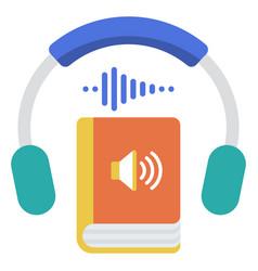 Audio book flat vector