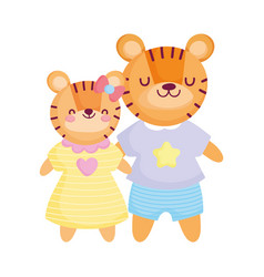 Back to school cute tigers kids with clothes vector