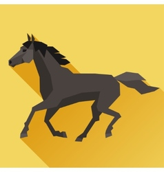 Background with horse running in flat style vector