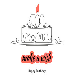 big cake on plate with candle - make a wish vector image