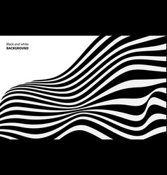 black and white wave stripe optical abstract vector image