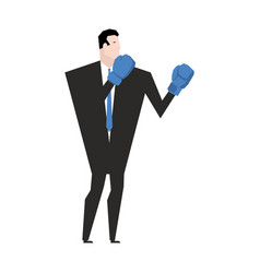 business fight businessman with boxing gloves vector image