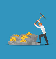 businessman digging bitcoin in rock vector image