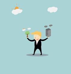 Businessmen using green energy vector