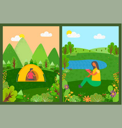 camping people man in tent and woman reading vector image