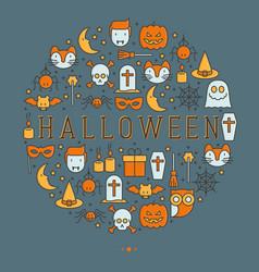 cartoon halloween concept in circle vector image