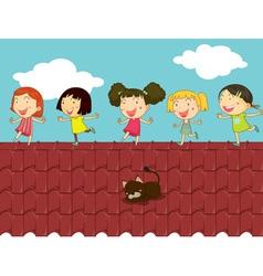 Cartoon kids on roof vector
