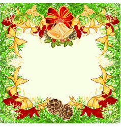 christmas and new year frame with pine cones vector image