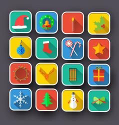 christmas flat icons set vector image vector image