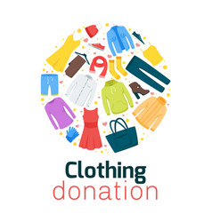 Clothing donation flat poster template vector