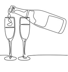 Continuous line drawing bottle and glasses vector