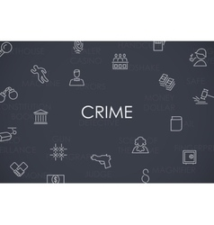 Crime thin line icons vector