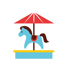 cute carrousel horse isolated icon vector image
