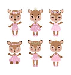 Cute deer in dress in modern flat style vintage vector