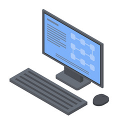 Desktop computer icon isometric style vector