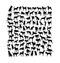 Dog animal silhouettes vector