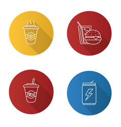 Drinks flat linear long shadow icons set vector