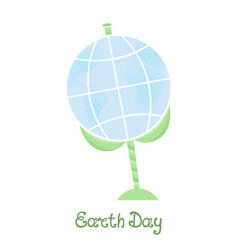 Earth day a planet on a stem with leaves vector