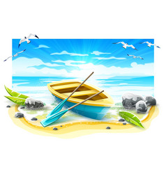fishing boat with paddles vector image