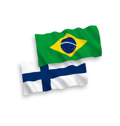 Flags finland and brazil on a white background vector