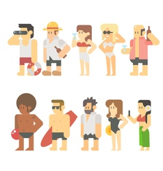Flat design of beach people vector image