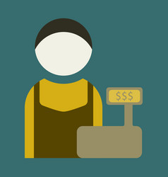 Flat icon cashier vector