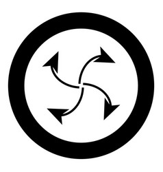 Four arrows in loop from center black icon in vector