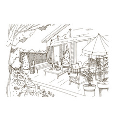 Freehand sketch of backyard patio or terrace vector