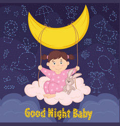 girl on swing from cloud and moon vector image