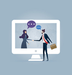 Global business on line deal - business concept vector