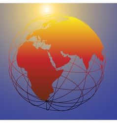 global wireframe eastern earth globe bright sun vector image