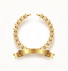 golden laurel wreath with ribbon vector image