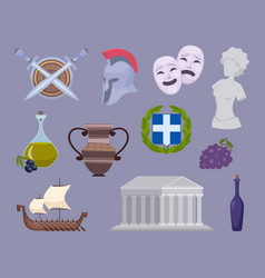 greece collection traditional authentic cultural vector image