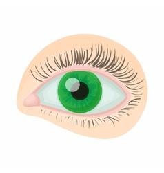 Green human eye icon cartoon style vector