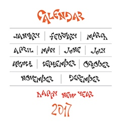 Hand written year month names vector