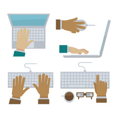 Hands typing on laptop and computer keyboard vector